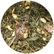 kineski čaj Sencha i Silver Needle (93%), aroma, cvjetovi jasmina, smrznuti komadići jagode.