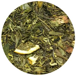 zeleni čaj Sencha i bijeli Pai Mu Tan, pahuljice manga i ananasa, kriške naranče, aroma, neven, komadići jagode